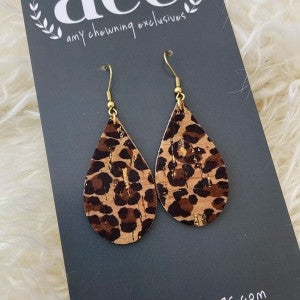 ACE Earrings/Small Animal Print Teardrop