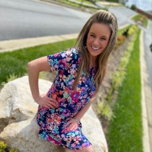 Navy Floral Dress w/ Hot Pink & Turquoise