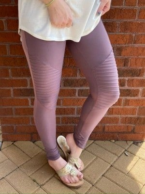 Mauve Ribbed Leggings