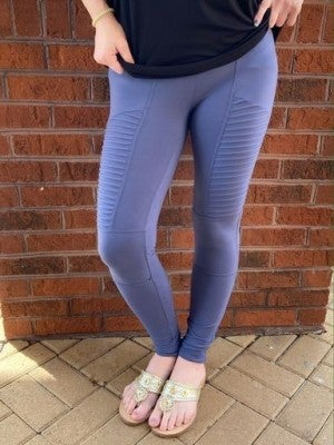 Blue Ribbed Leggings