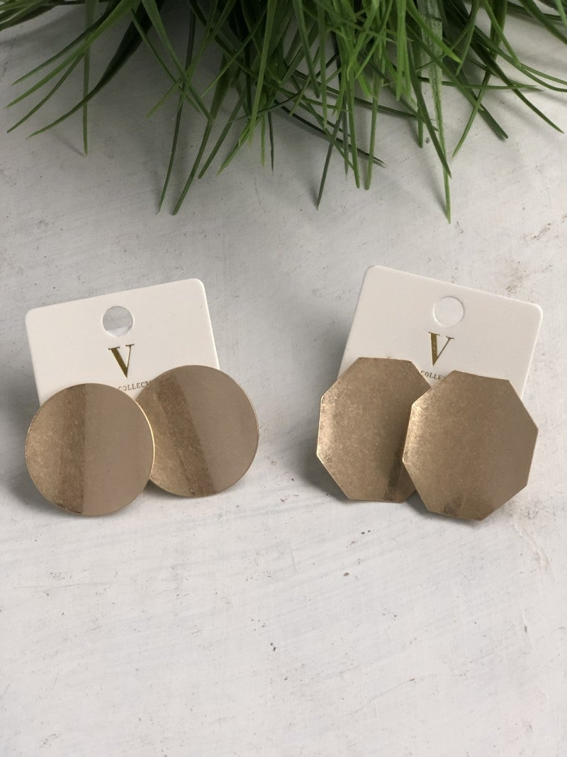 Worn Gold Bent Disc Earrings