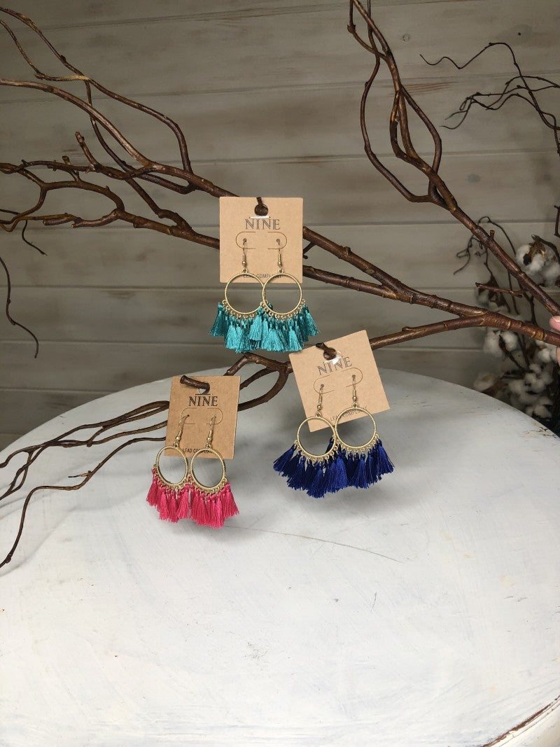 Circle Fringe Earrings (Royal, Pink, Turquoise) *Final Sale*