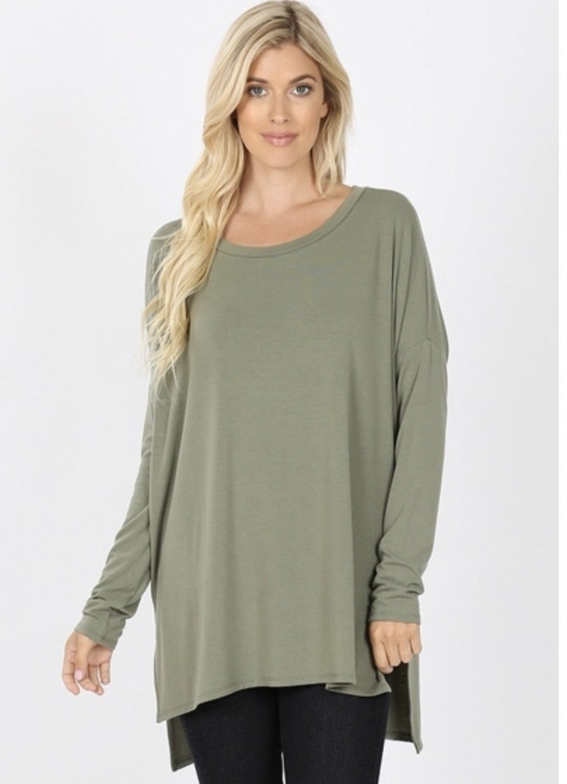 Zenana Dolman LS High Low Hem Top