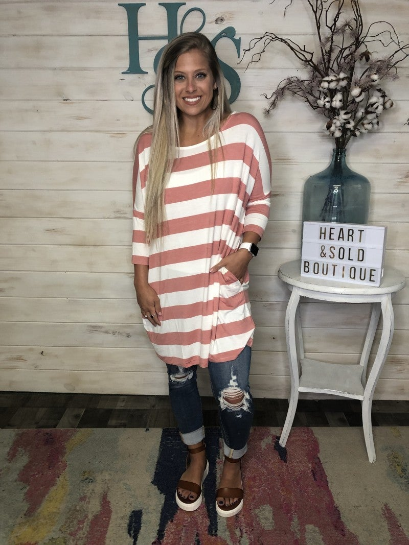 Zenana Rose/Ivory Stripe Tunic