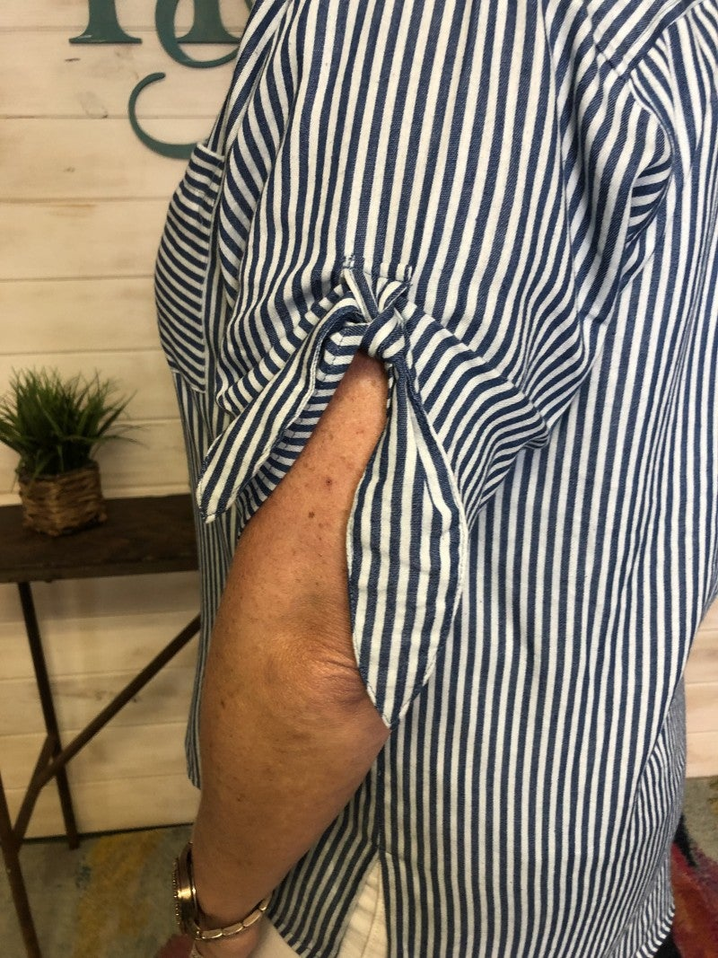 Washed Stripe Denim Button Up Top with Tie Detail at Sleeve