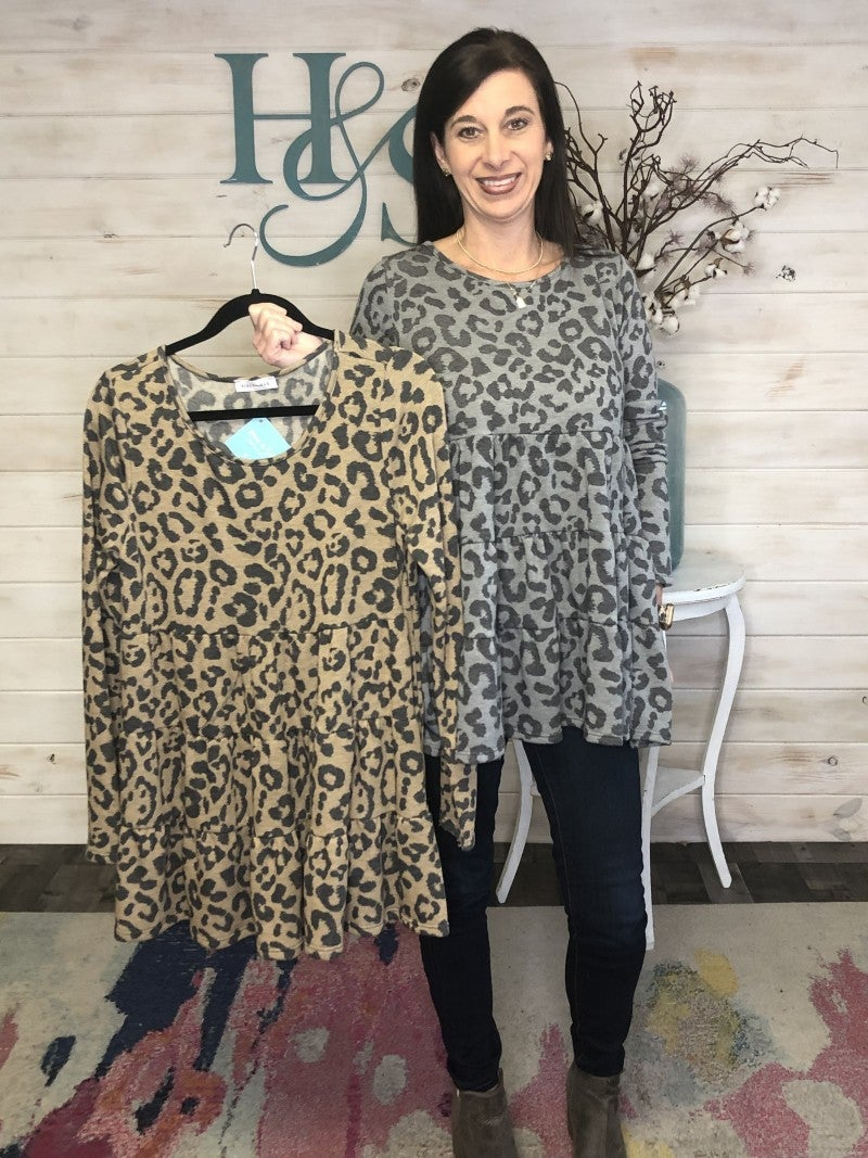 Leopard Brushed Babydoll Tunic