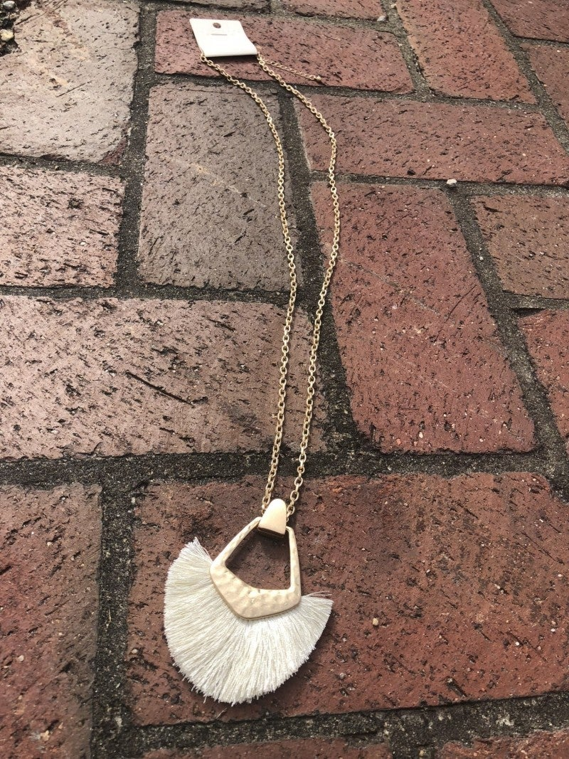 Gold Hammered Necklace with Ivory Fringe
