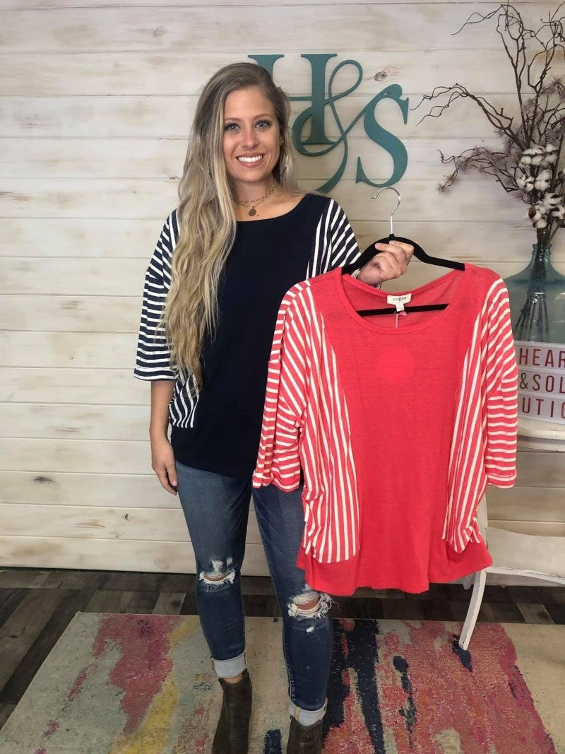 "Umgee Striped 3/4"" Sleeve Knit Top"