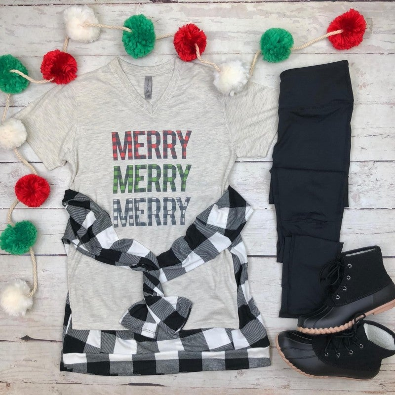 Merry Plaid Graphic Tee