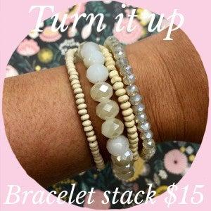 Turn It Up Bracelet Stack Natural