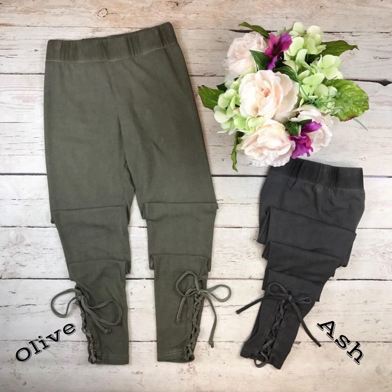 Lace Up Oil Wash Leggings