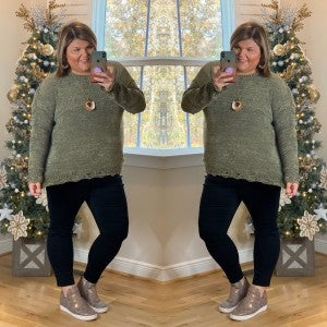Fall Chills Sweater Olive Plus