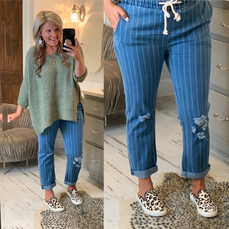 The Serena Striped Jeans