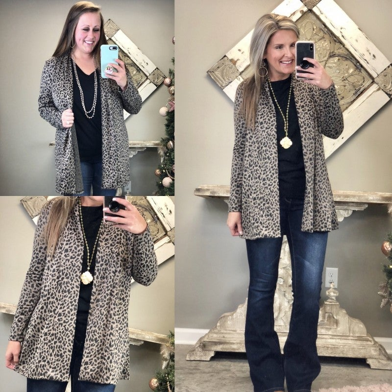 Leopard Lovin' Cardigan - Black Friday