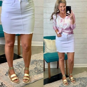 Just In Time Denim Skirt White