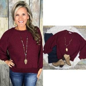 Wine Boat Neck Sweater-FINAL SALE