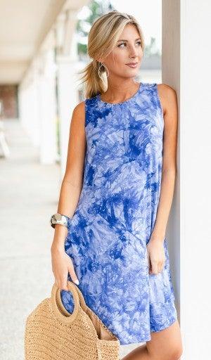 Make My Own Luck Dress, Blue Tie Dye
