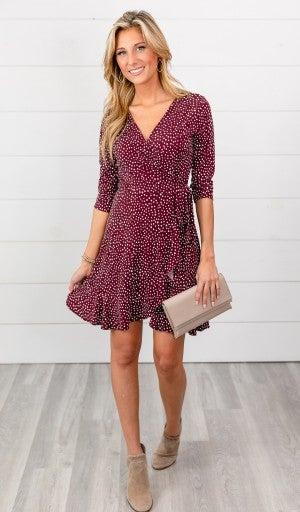 Dots Of Love Dress, Wine