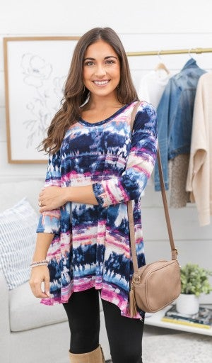Winter Sunsets Tunic, Navy *Final Sale*