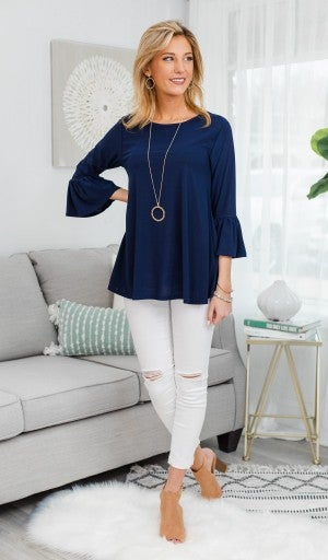 Bella Bell Sleeve Top, Navy