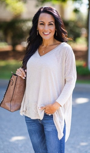 Beauty In Simplicity Top, Taupe