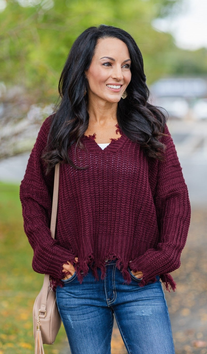 Chilly Days Ahead Sweater, Burgundy