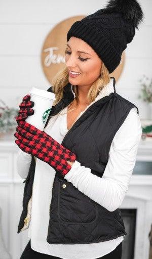 BUNDLE! Rocky Mountain- Black Pom Pom Hat & Red Check Houndstooth Glove
