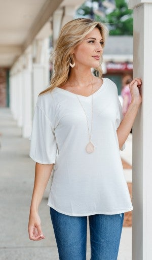 Simple Sights Top, Ivory