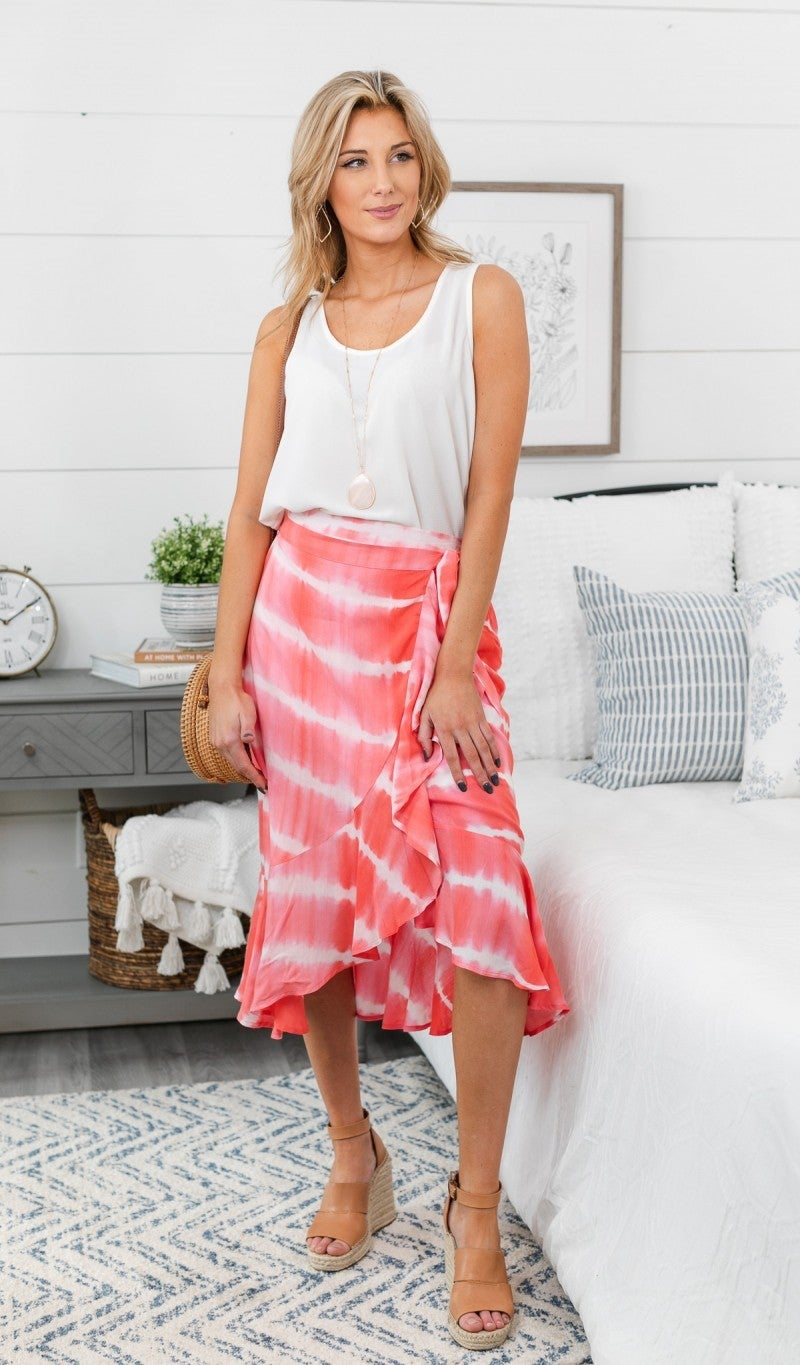 Need You Now Tie Dye Skirt, Coral