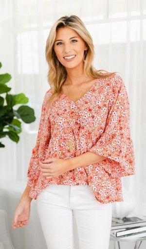 Seasons Change Floral Top, Coral