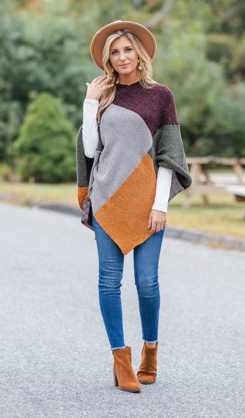 Patchwork Chenille Poncho, Olive