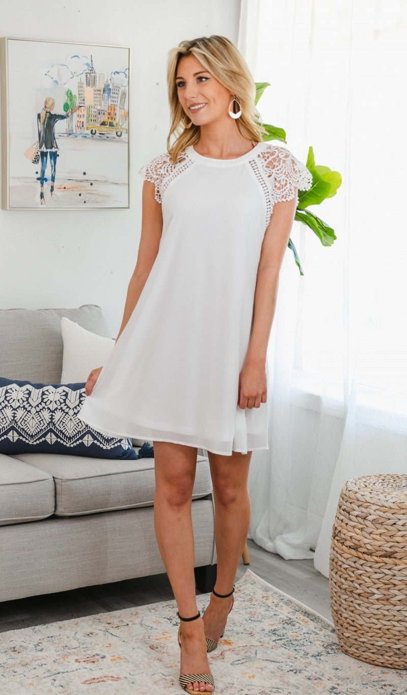 Good Karma Shift Dress, White