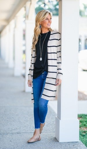 No Stopping You Cardigan, Taupe/Black