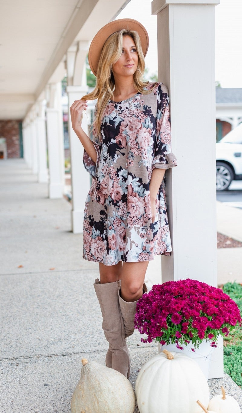 Stroll With Me Floral Dress, Taupe *Final Sale*