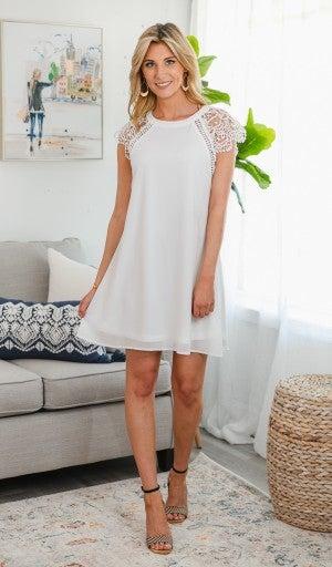 Good Karma Shift Dress, White