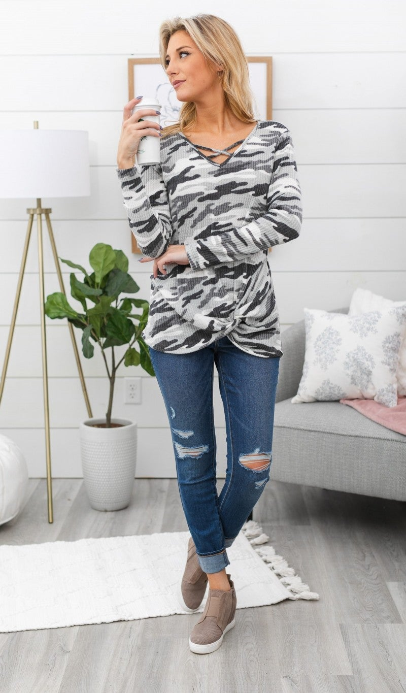 Camo Ahead Top, Grey