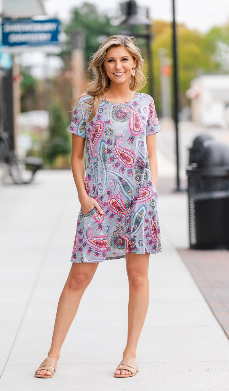 Beach Day Dress-Grey