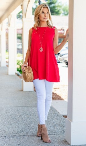 The Zoe Tank, Ivory or Red