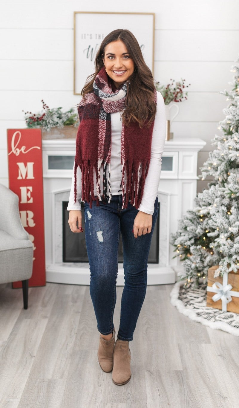 Beautiful New Day Plaid Scarf, Burgundy