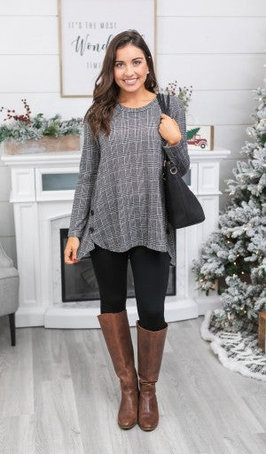 Timeless Plaid Tunic, Grey