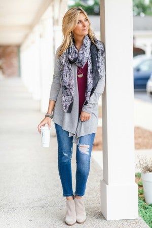 Seasonal Essential Cardigan, Grey