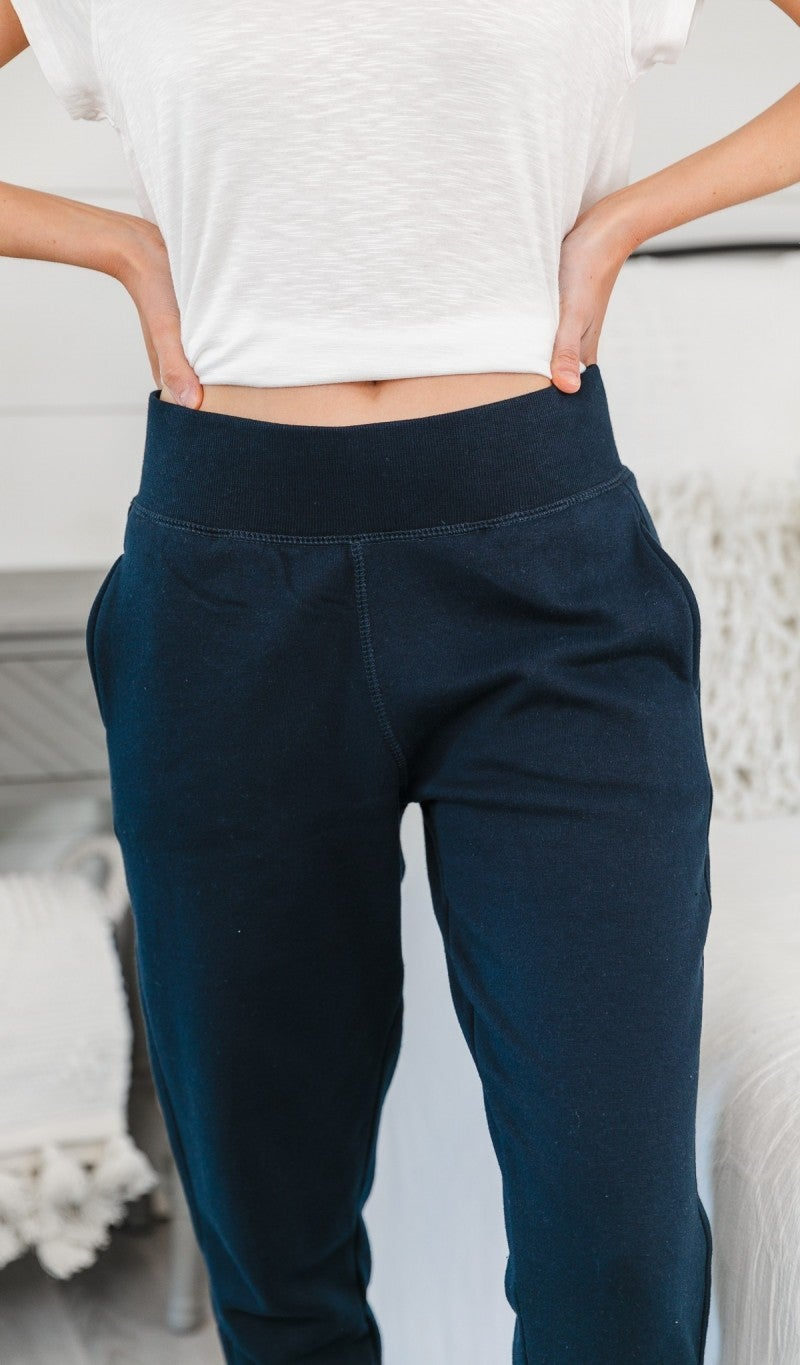 Keep Them Wondering Fleece Joggers, Navy