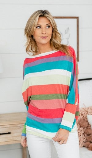 Evening Breeze Top, Multi Stripe