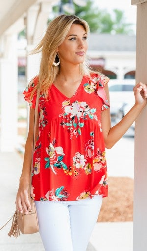 Bright Floral Top, Red