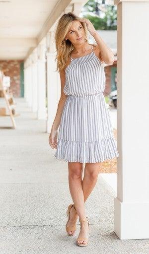 Sunny Days Swing Dress, Washed Black Stripe