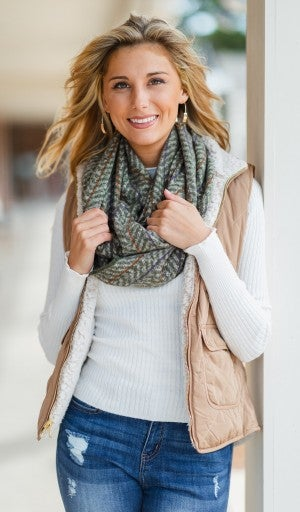 Welcomed Warmth Scarf, Olive/Mocha or Pink