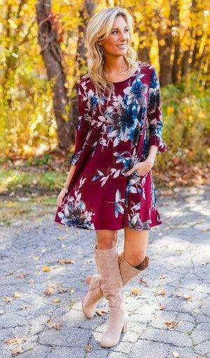 Flourish Forever Dress, Burgundy