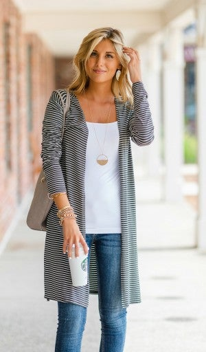Not Your Average Duster Cardigan, Olive & Ivory Stripe