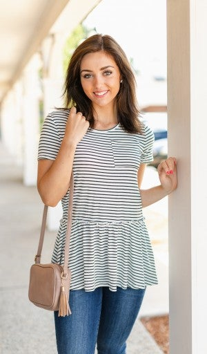 Daily Stripes Top, Ivory