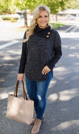 The Willow Button Sweater, Grey